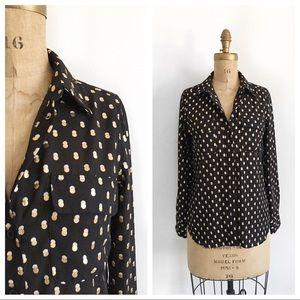 WHOWHATWEAR black semi sheer polka dot blouse.